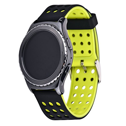 Greatfine Smart Watch Accessori Intercambiabile Cinturini di Ricambio braccialetto sostituzione band per SAMSUNG Classic SM-R732, or Motorola Moto 360 2a Generazione 42 mm (BlackYellow)