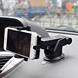 ELV Car Mount Adjustable Car Phone Holder Universal Long Arm, Windshield for iPhone 7/7Plus/6/6s/6Plus,Samsung,Sony,HTC - Black