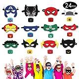 HXDZFX 24PCS Superheld Party Masken und Superheld Slap Armband für Erwachsene und Kinder Party...