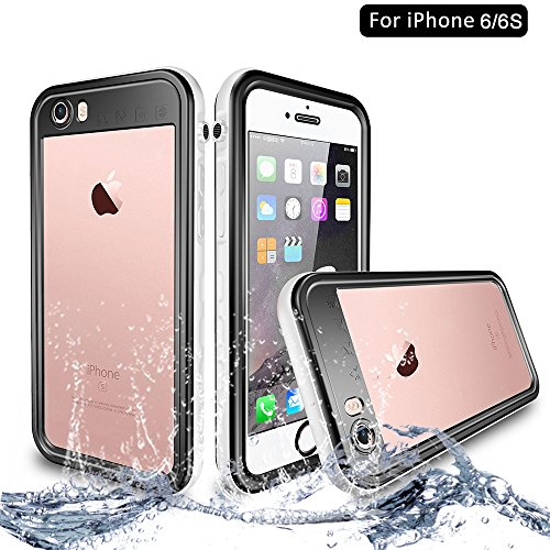 NewTsie iPhone 6 / iPhone 6s Wasserdicht Stoßfest Hülle, IP68 Zertifiziert Schutzhülle Staubdicht mit Eingebautem Displayschutzfolie für iPhone 6/6s 4.7 inch (T-Weiß)