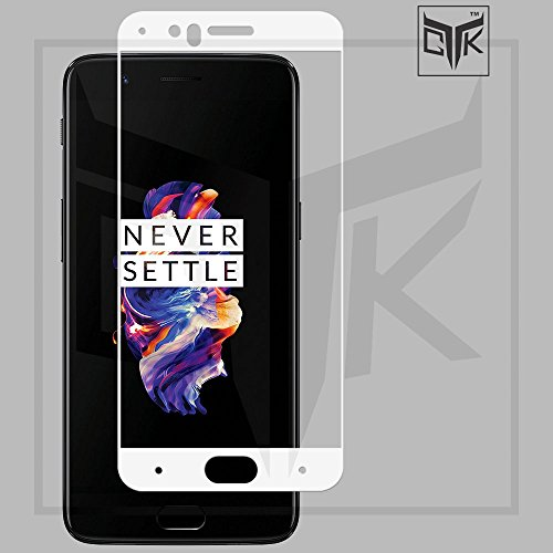 TheGiftKart Edge To Edge Tempered Glass (White) + Matte Velvet Feel Hard Cover (Golden) For OnePlus 5