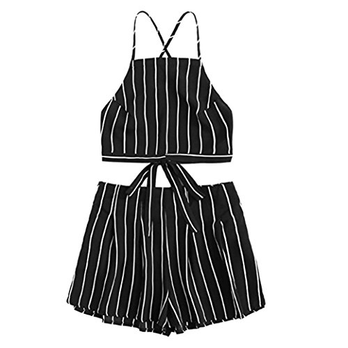 SMILEQ 2Pcs Casual Crop Top Shorts Set Cami Striped Bandage Strap Mini T Shirt