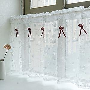 Yujiao Mao Amerikanisches Land Art gestickten Gaze Vorhang Bistrogardine Küchengardine Scheibengardine, BxH 140x60cm, Weiss
