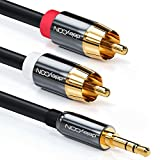 deleyCON 0,5m Klinkenkabel Cinch Kabel 3,5mm Klinke zu Cinch RCA Stereo Audio Kabel 1x Klinkenstecker auf 2x RCA Cinch Stecker Metallstecker schwarz