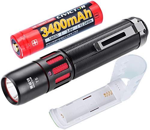 Kleine Taschenlampe Aufladbar Batterie CR123A 18650 Taschenlampe Akku USB Ladegerät Powerbank Super helle Wiederaufladbare Led Taschenlampe 1000 lumen CREE Klein Wasserdicht Mini Taschenlampe Set Kit