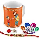 Indigifts Raksha Bandhan Gifts For Brother Cute Bro Belong To Me Quote Printed Gift Set Of Mug 330 Ml, Crystal Rakhi For Brother, Tika, Chawal & Greeting Card - Rakhi Gifts For Brother, Rakshabandhan Gifts, Rakhi For Brother With Gifts