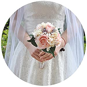 ULAPAN Ramos de boda para novia, ramos de novia con flores, flores artificiales para boda, rubor, F8