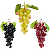 Reiki Crystal Products Artificial Grapes with Leaves Plastic Fake Fruit Food Home Decor for Table Decoration Combo Pack of 3 pc