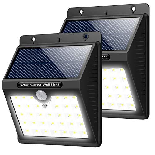 AOSHE Outdoor-Solarleuchten, 46 LED 1800 mAh Superhelle Solarleuchten mit Bewegungssensor 3 Modi Solarlicht Wasserdicht Solarbetriebene Sicherheits-Wandleuchte Beleuchtung