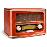 Double NR 1 Radio Nostalgie (tuner FM / AM, échelle de fréquence, coffret en bois, contrôle du volume) Brown