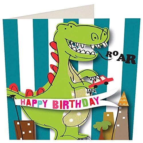 """Caroline Gardner """"dinosaurio de lol007tarjeta de felicitación de cumpleaños"""