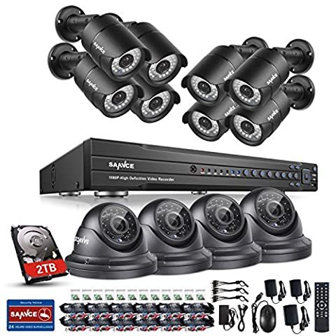 Sannce 1080P HD 16CH Video Security System + 2TB Hard Drive Disk - 12x2.1 MP Weatherproof IP66 CCTV Dome Cameras, Motion Detect, Email Alert, Smart Recording, Day Night Vision, Quick QR Code Smartphone Access, USB