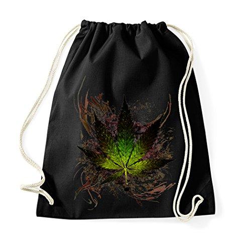 TRVPPY Baumwoll Turnbeutel Sportbeutel Modell Cannabis Weed Farbe Schwarz