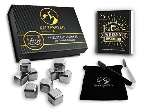 Keltenberg XXL Edelstahl Eiswürfel Geschenkset (9 Stk.) + Zange, Samtbeutel, Geschenkbox, eBook I I Kein Verdünnen - Beste Kühlung - Wiederverwendbar