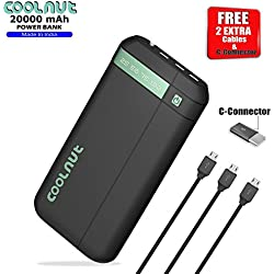 Coolnut CMPBSUN-27 20000mAh PowerBank with Rubber Coating, 3- USB Charging Port, 3 Micro USB Cable (Black)