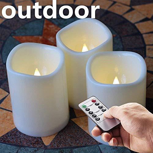 Batterie Fernbedienung LED flammenlose kerzen mit Timer,Weihnachten Stumpenkerzen aus Kunststoff Wetterfeste Design 3'' x 4'', Satz von 3