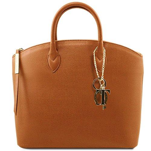 81412614-KL - TUSCANY LEATHER: TL KEYLUCK -N- Sac cabas en cuir Saffiano - Moyen modèle, cognac