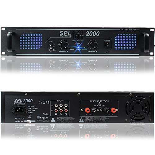 Skytec SPL2000 Professional Audio Black DJ Disco PA Power Amplifier 2000W