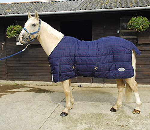 Rhinegold Hohe Gewicht Pferd Pony stabile Quilt Teppich Marineblau Rot Karo 4, 140cm, Karamellfarben zu 7FT0IN, blau / rot, 137 cm -