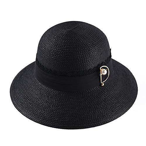 YEAHBO Damen Faltbare Sonnenhüte Strohhüte Sommer Hut Damen Kuppel Hut Perle Pin Dekoration Sonnenblende Große Sonnenhut