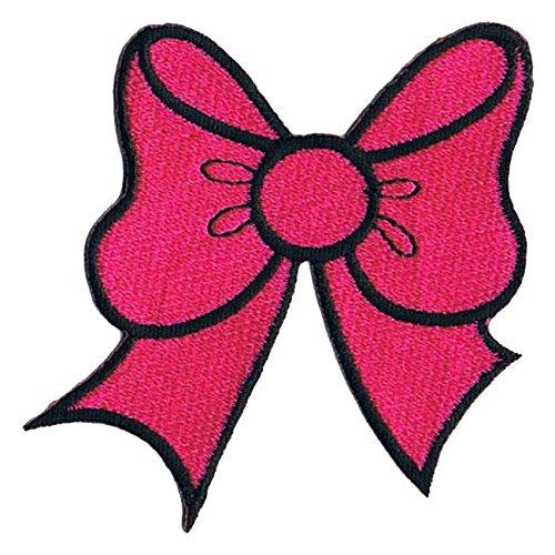 Lucky Patches, Aufnäher, Applikation, Aufbügler, Iron on Patch - Schleife, Band, Deko, 6 x 7 cm (Pink)