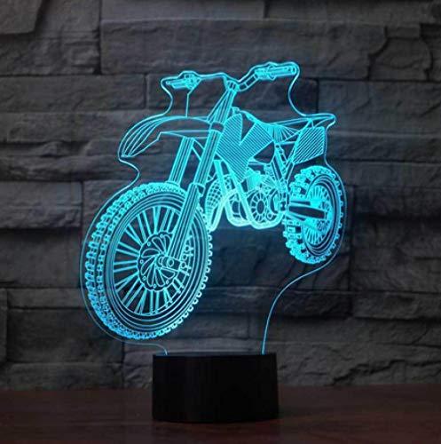 Joplc Cross-Country Motorrad 3D Nachtlicht LED Touch Schalter Indoor-Atmosphäre Lampe als Kinder Geschenk