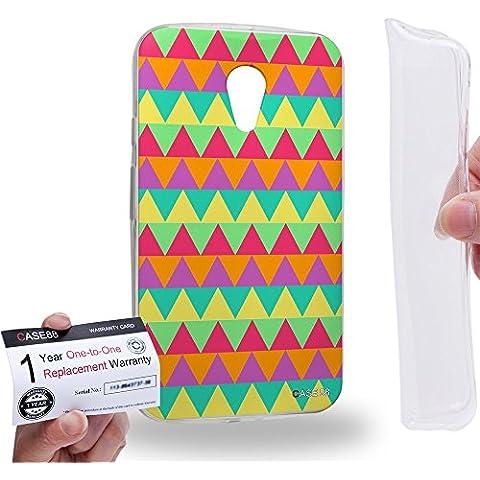 Case88 [Motorola Moto G (2nd Gen.)] Custodia/Cover Gel/TPU/Prottetiva & Certificato di garanzia - Art Fashion Colour Wheel Mix Geometric Aztec Camo Art2132