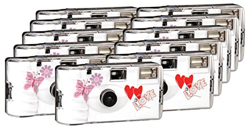 Galleria fotografica TopShot Love Hearts - Confezione da 9 fotocamere usa e getta colore rosso per nozze, 27 foto, con flash, confezione da 9 + 2