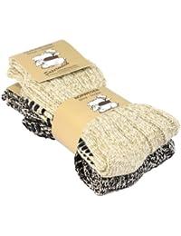 Lot de 2 ou 4 paires de chaussettes norvégiennes en laine - picots antidérapants