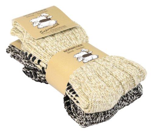 2 Paar Norweger Strick-Socken mit Antirutsch Sohle, Woll Socken (Jungen-woll-socken)