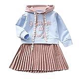 Kobay Kleinkind Kinder Baby Mädchen Brief mit Kapuze Sweatshirt Prinzessin Kleid(5-6T,Blau)