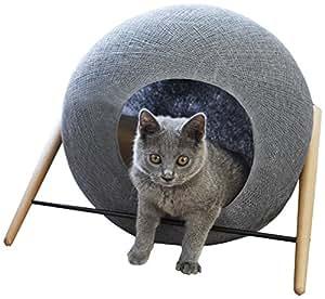 Meyou-Paris La BALL GRIS FONCE. Lit, abri douillet et griffoir pour chats - Cocon gris foncé / coussin camel / structure métal noir mat