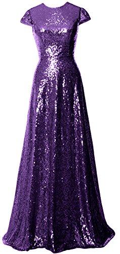 MACloth Women Cap Sleeve Sequin Long Bridesmaid Dress Wedding Party Evening Gown Violett