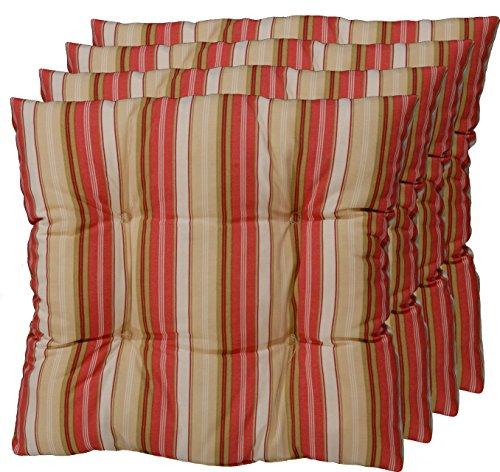 korb.outlet 4er Set Sitz-Kissen aus Deutscher Herstellung, Stuhl-Polster Weinrot, Grün, Beige 40x40 cm