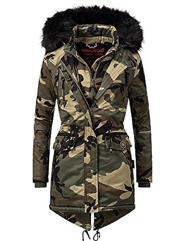 Marikoo Damen Mantel Wintermantel Winterparka Rose (vegan hergestellt) Camouflage Gr. XL