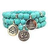KARDINAL.WEIST Naturstein Perlenarmband aus Howlith Türkis mit Chakra-Charm-Münze, Yoga Schmuck für Damen und Herren, Energie Armband (Dreierpack)