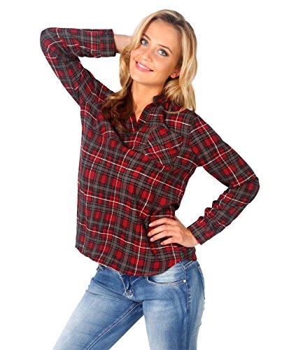 5499-RED-14: Hemd Shirt Schottisch Kariert (Rot, Gr.4) (Ärmel-mandarin-kragen-shirt)