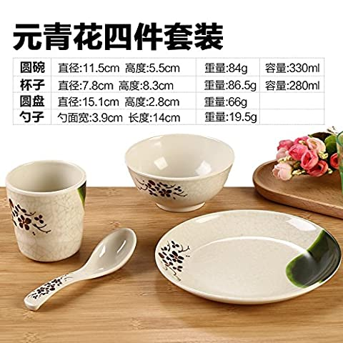Tlue Tathtub Melamine Tableware _ Four Piece Table Restaurant Restaurant Tableware Bowl Dish Porcelain Plastic Dishes,Four Sets Of Qing