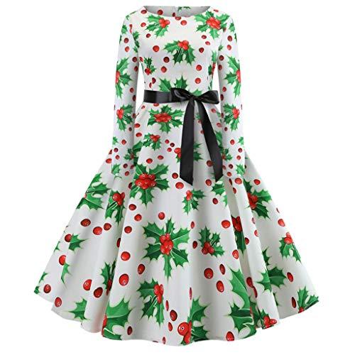 (Luckycat Damen Vintage Print Langarm Weihnachts Abend Party Swing Kleid Abendkleider Cocktailkleid Partykleider Blusenkleid Mode 2018)