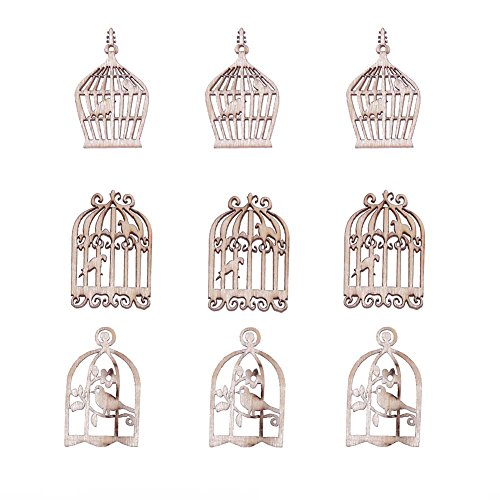 Demiawaking 50Pcs Handmade Wooden Birdcage Embellishments DIY Scrapbooking Accessories Christmas Decorations Pendants Buttons Ornaments for Wedding Party Crafting Card Making