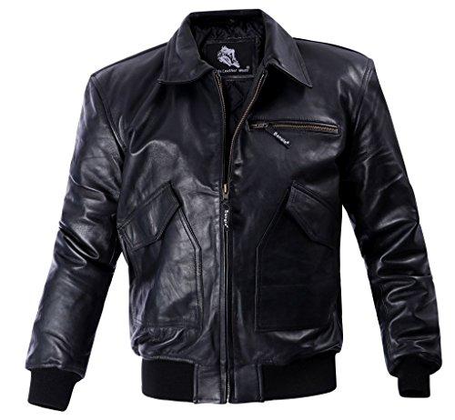 Herren Lederjacke Leder Blouson Fliegerjacke Bangla 1415 schwarz 6 XL - Leder-blouson