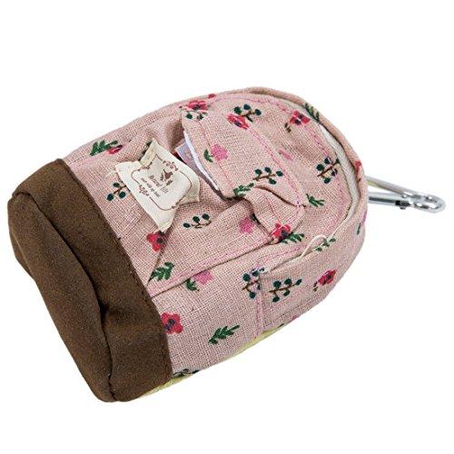SODIAL(R) Donne calde freddi popolari zaino Borsa Fiore della moneta raccoglitore della mano il sacchetto borsa Blu Rosa