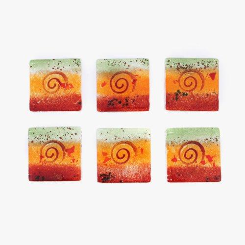 bebida-posavasos-conjunto-de-6-hecho-a-mano-de-cristal-fused-de-servir-cuadrado-rojo-naranja-verde-s
