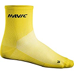 Mavic - Cosmic Mid Sock, color amarillo, talla EU 43-46