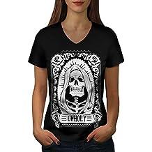 unheilig Rose Tod Schädel Damen S-2XL V-Ausschnitt T-shirt | Wellcoda