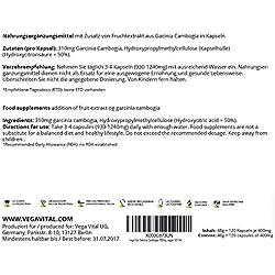 Garcinia Cambogia quemagrasa natural | reducir apetito – adelgazante – metabolismo | 120 cápsulas – dosis ideal 600mg – 50% HCA | control de apetito | producto y certificado Alemán.