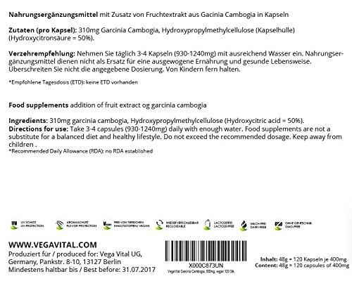Appetitzügler | Garcinia Cambogia Fruchtextrakt | 1800 mg pro Tagesdosis | 120 Kapseln | Gewichtmanagement - Stoffwechsel | Vegan | OHNE chemische Zusätze | Vegavero: from Nature-with Passion-for You!