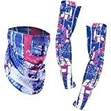 Vodool Arm Sleeves Cycling Sun UV Protection Cooling Sleeves For Men Women Arm Sleeves+ Scarf Set