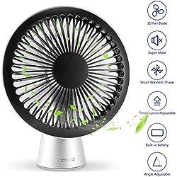 ZOTO Ventilateur USB de Bureau, 3 Vitesses Mini Ventilateur Ultra Silencieux, Portable Rechargeable Ventilateur pour Maison/Bureau/en Plein air