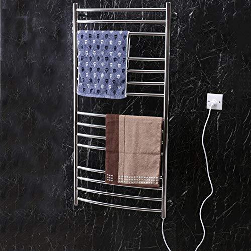 HUIJIN1 Plug-in heißes Handtuchwärmer, elektrisch beheiztes Handtuch-Rack, an der Wand polierten Edelstahl H47 xW24 heißem Handtuch Rack,206 Watt,15 Bars für Badezimmer